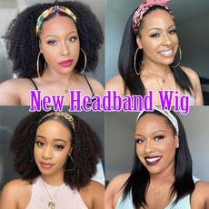 wig, Women's Fashion & Accessories, headbandwig, curlinghairwithheadband