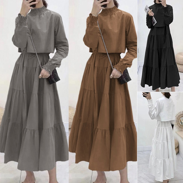 pleated dress, Sleeve, solidcolordres, turtleneck