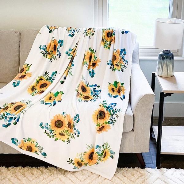 Fleece, lightweightblanket, manta, Sunflowers