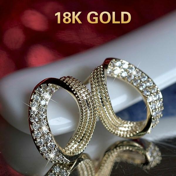 White Gold, yellow gold, Fashion, Dangle Earring