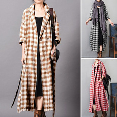 casual coat, plaidprintedcoat, cardigan, plussizecoat