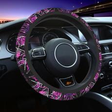 pink, Cars, pinkcamo, steeringwheelcover