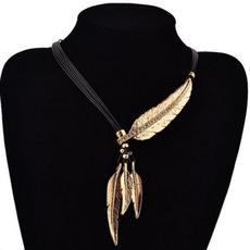 Steel, clavicle  chain, Fashion, leaf