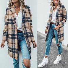 woolen coat, plaidcoat, Fashion, trenchcoatforwomen