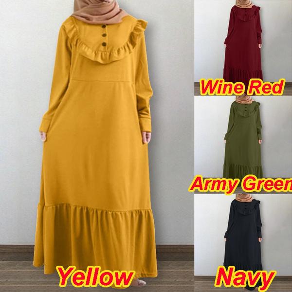 Plus Size, muslimdres, Vintage, button