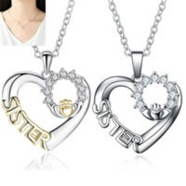 Heart, sister, Fashion, 925 sterling silver