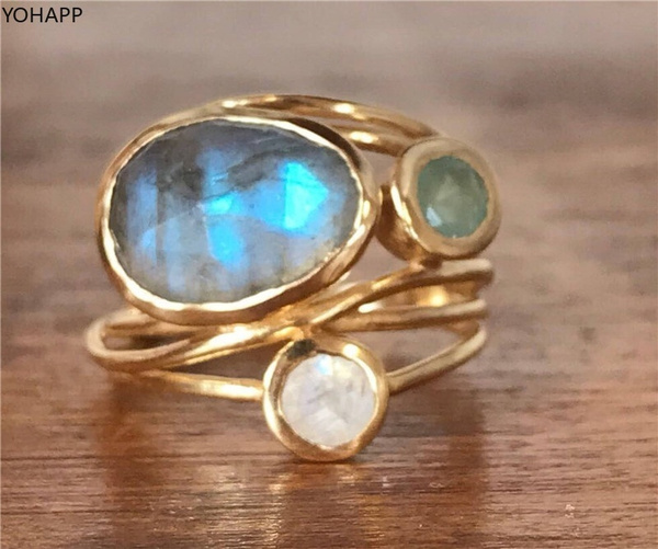 Blues, moonstonering, Jewelry, gold