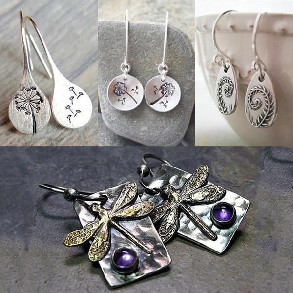 fernearring, Sterling, vintage earrings, dragon fly