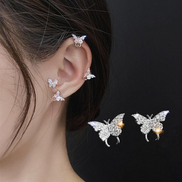 butterfly, earclipforwomen, Jewelry, Stud Earring
