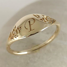Fashion, letterring, wedding ring, gold