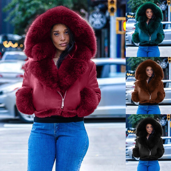 fur coat, Plus Size, cropcoat, Long Sleeve