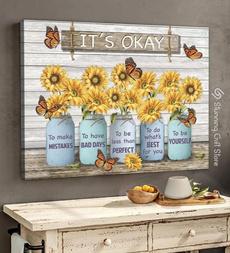 butterfly, sunflowerposter, art, Sunflowers