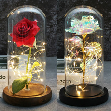 ledhandmaderoselamp, led, Beauty, Glass