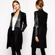 woolen, woolen coat, Slim Fit, leather