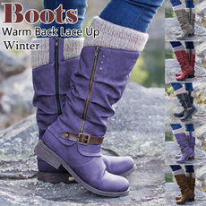 Knee High Boots, Outdoor, fur, Winter