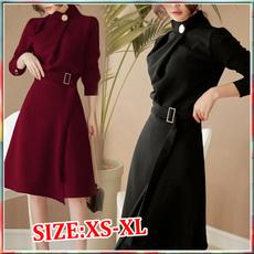 work dress, Long Sleeve, Dress, Red