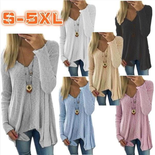 vneckknitsweater, solidcolorknitsweater, Fashion, casualcottontshirt