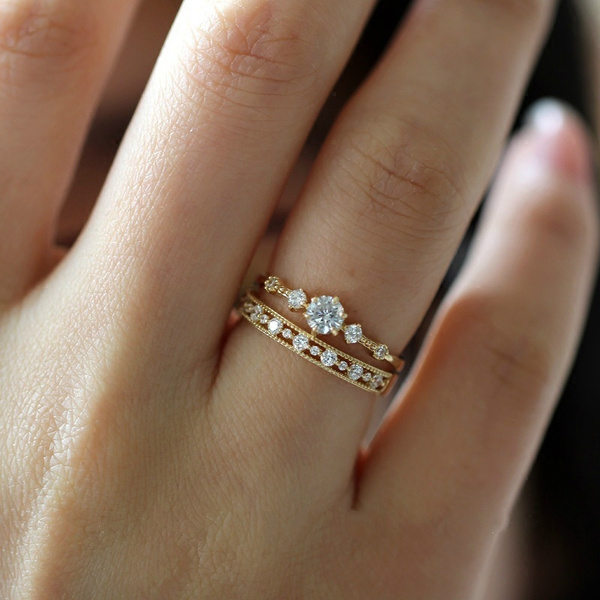 goldplated, cute, DIAMOND, wedding ring