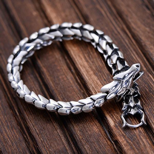 Men Jewelry, Sterling, Unique, dragonchain