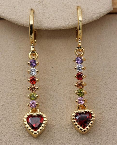 yellow gold, Heart, Gemstone Earrings, topazearring