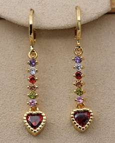 yellow gold, Heart, Gemstone Earrings, topazearring