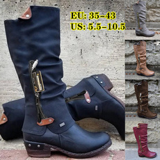 casual shoes, Knee High Boots, Plus Size, Leather Boots