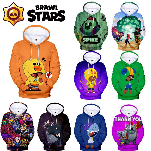 3D hoodies, Fashion, pullover hoodie, brawlstarspullover