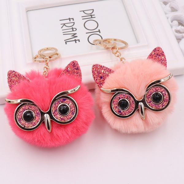 Owl, owlpendant, fur, Key Chain