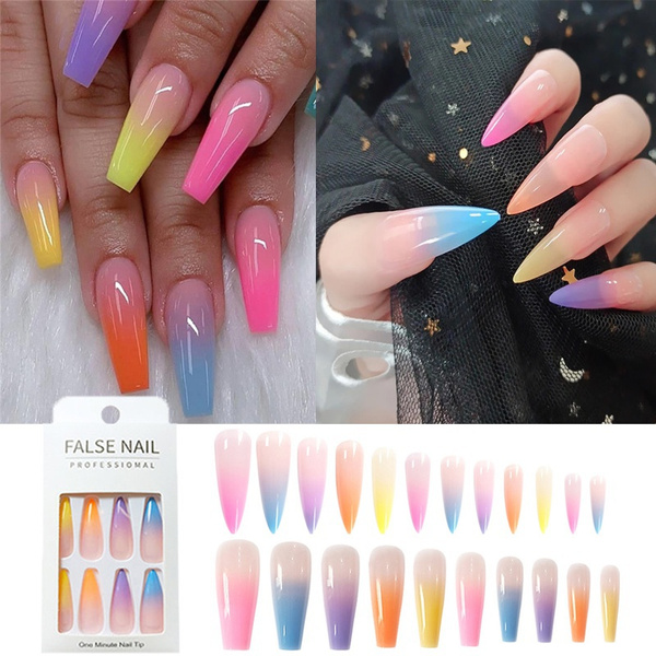 rainbow, Ballet, nail tips, Beauty