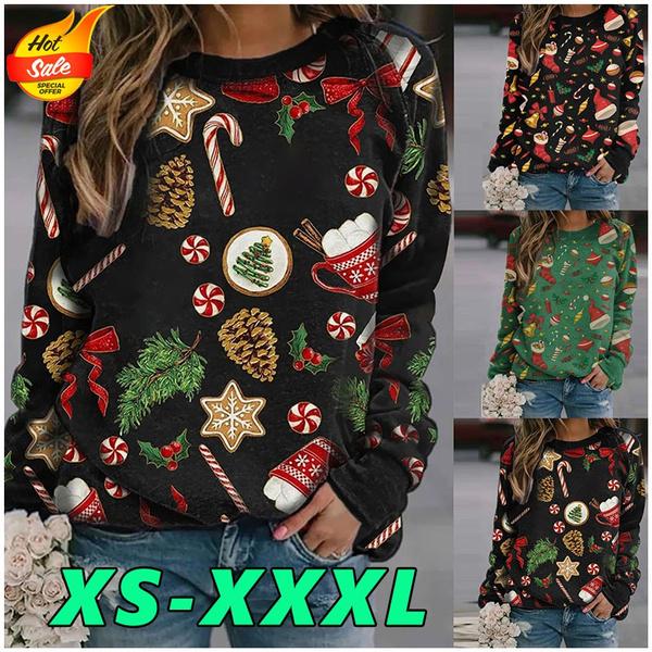 Fashion, Long Sleeve, christmassweater, printed