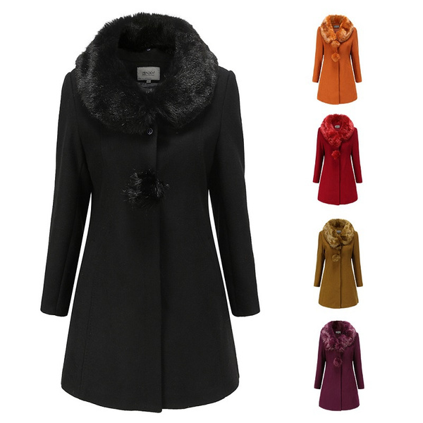 woolen, fashion women, Winter, fur collar