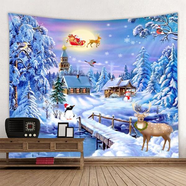 xmasdecor, christmastapestry, snowytapestry, decoration