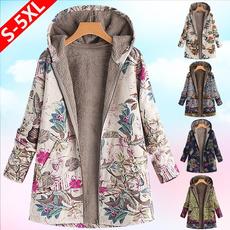 casual coat, Fleece, hooded, leaf