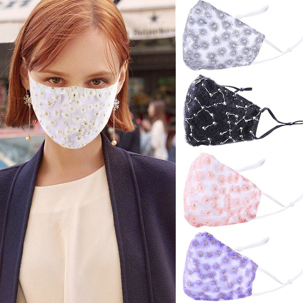 cottonfacemask, Women, floralfacemask, daisyfacemask