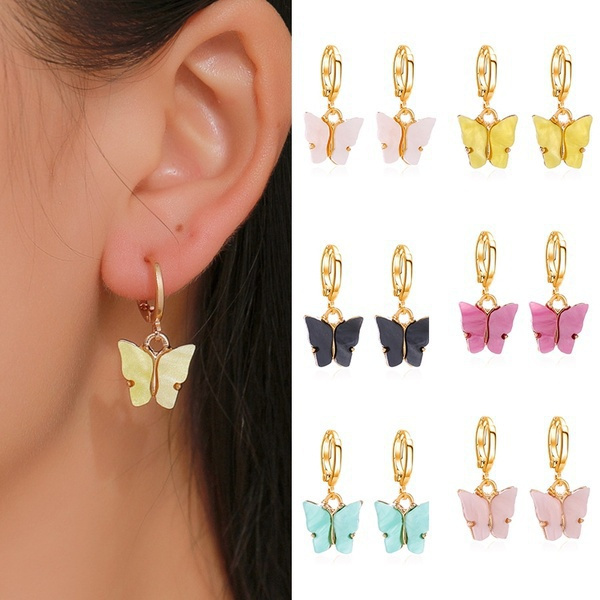 butterfly, cute, butterfly earrings, candy color