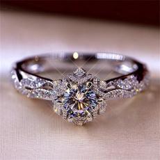 DIAMOND, wedding ring, 925 silver rings, Engagement