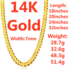 yellow gold, Chain Necklace, punk style, figarochain