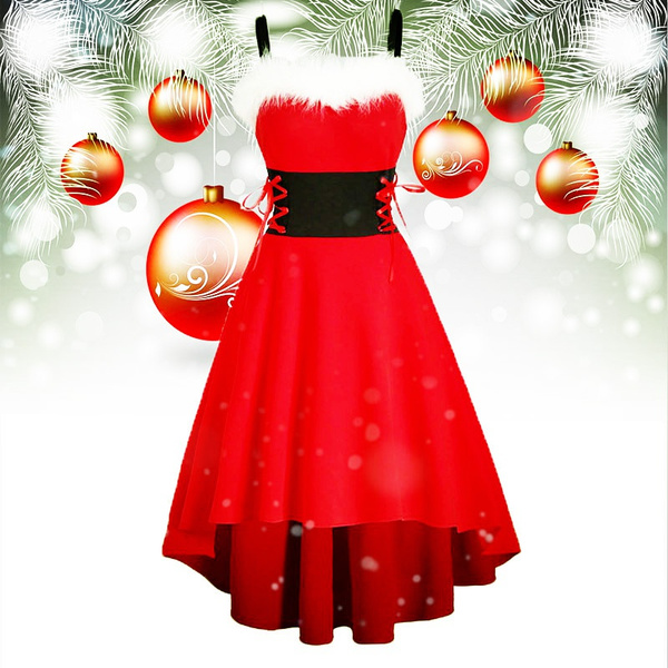 christmasdressesforwomen, sleeveless, santadre, Corset Dress