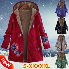 Coat, Plus Size, Floral print, Winter