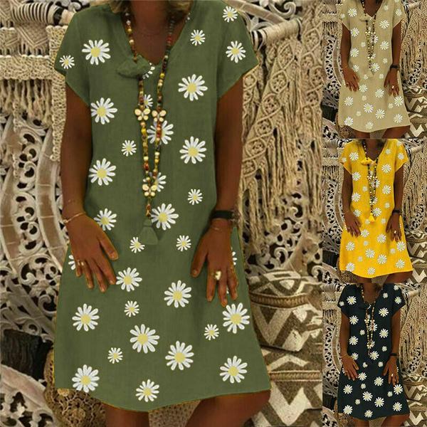 Summer, Necks, Midi, Dress