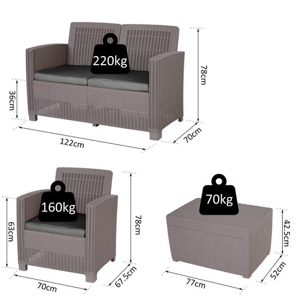 Set, 4 PC, rattan, Cushions