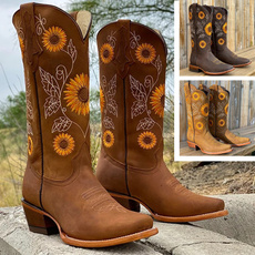 midcalfboot, Leather Boots, Sunflowers, Womens Shoes