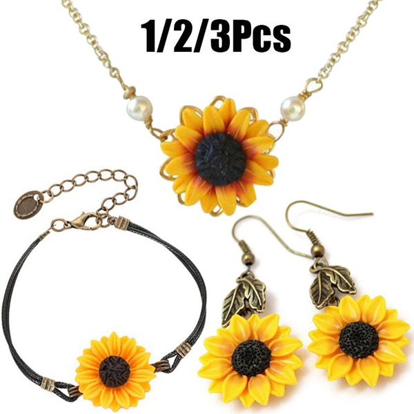 Jewelry, Sunflowers, Vintage, sunflowernecklace