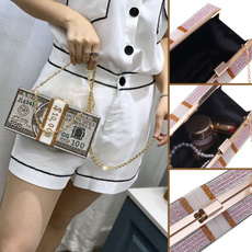 ladydinnerbag, clutchdiamondhandbag, Chain, Womens Wallet
