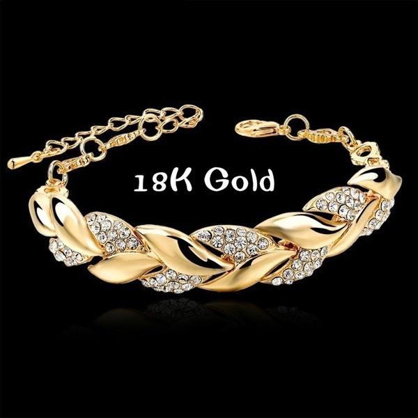Charm Bracelet, 18k gold, leaf, Jewelry