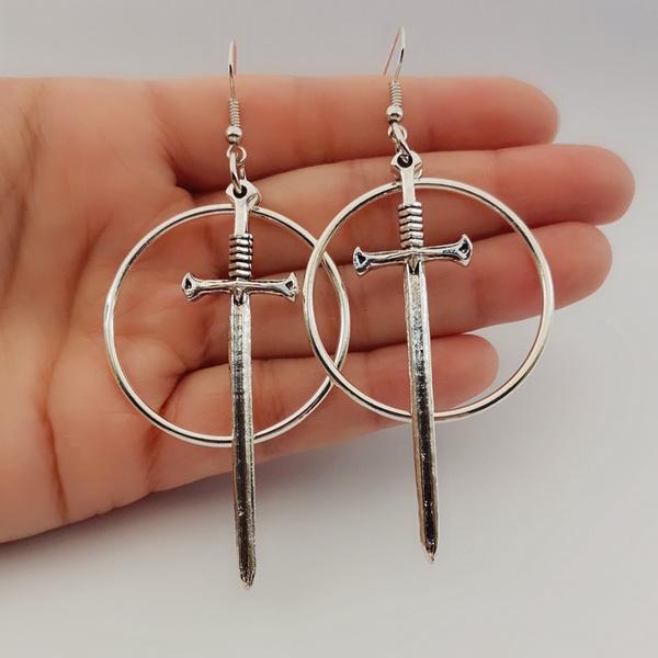 Goth, Hoop Earring, Dangle Earring, Jewelry
