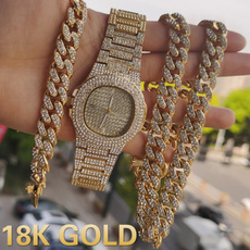 hip hop jewelry, punk necklace, gold, Watch