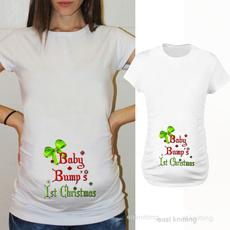 Funny, babybumps1stchristmasmaternityshirt, Cotton T Shirt, Beauty