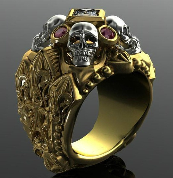 Jewelry, gold, punk, party Ring