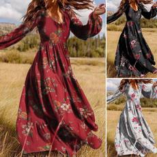 Plus Size, Long Sleeve, Tunic dress, V Neckdress